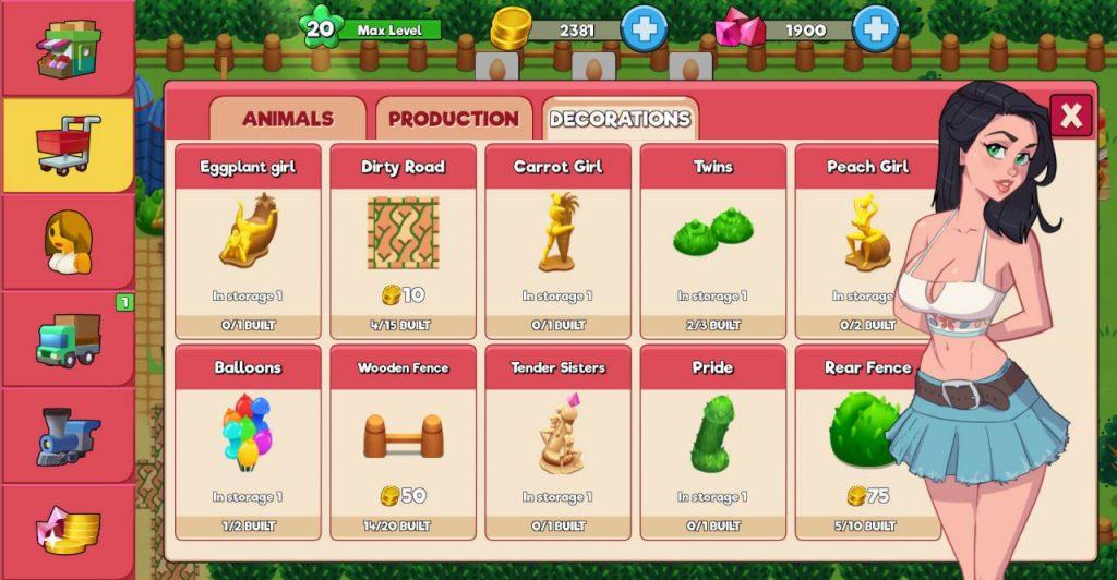 booty farm interface